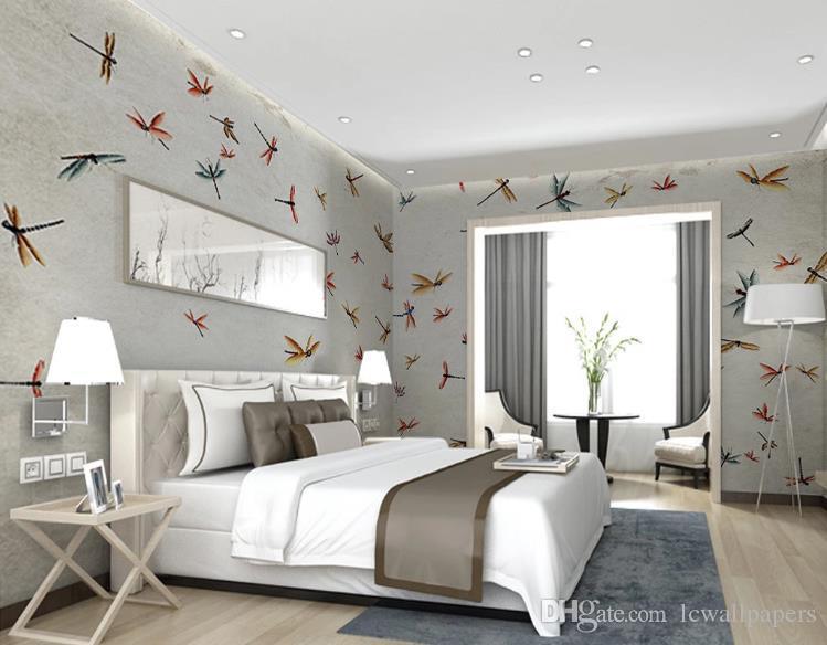 Modern Vintage dibujado a mano toda la casa libélula fondo de pantalla 3D dormitorio del papel pintado Papel pintado mural telón de fondo de la decoración