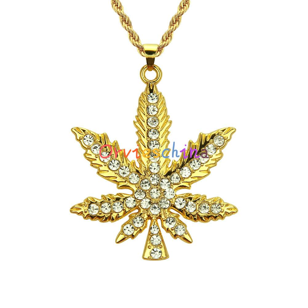 2020 concepteur nouveau hip-hop collier pendentif diamant feuilles d'érable de bijoux de charme européen et de la mode américaine