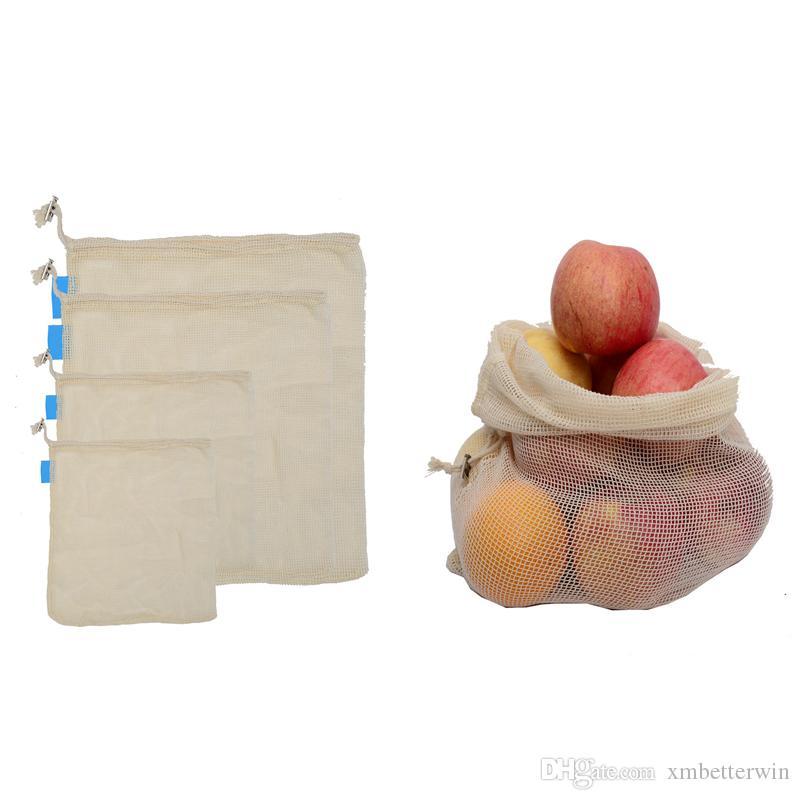 50PCS / LOT sacchetti di verdure di verdure riutilizzabili Borse multifunzionali della maglia della verdura della frutta della cucina portatile con il sacco di cordone