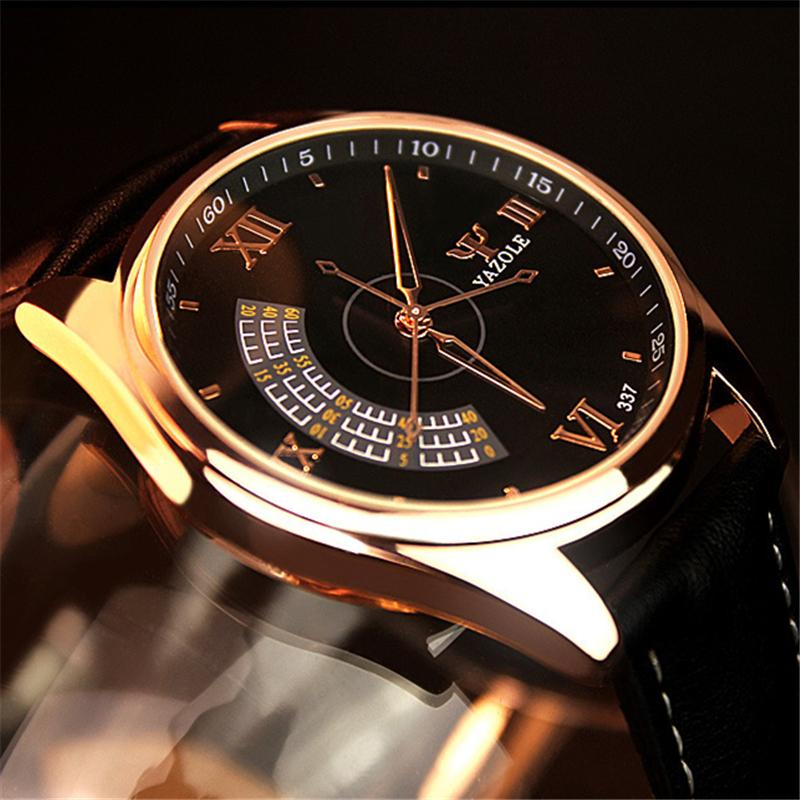 YAZOLE Sport Mode pour hommes Boîtier en acier inoxydable en cuir bande quartz analogique montre-bracelet mens montres marque haut luxe Wristwatch