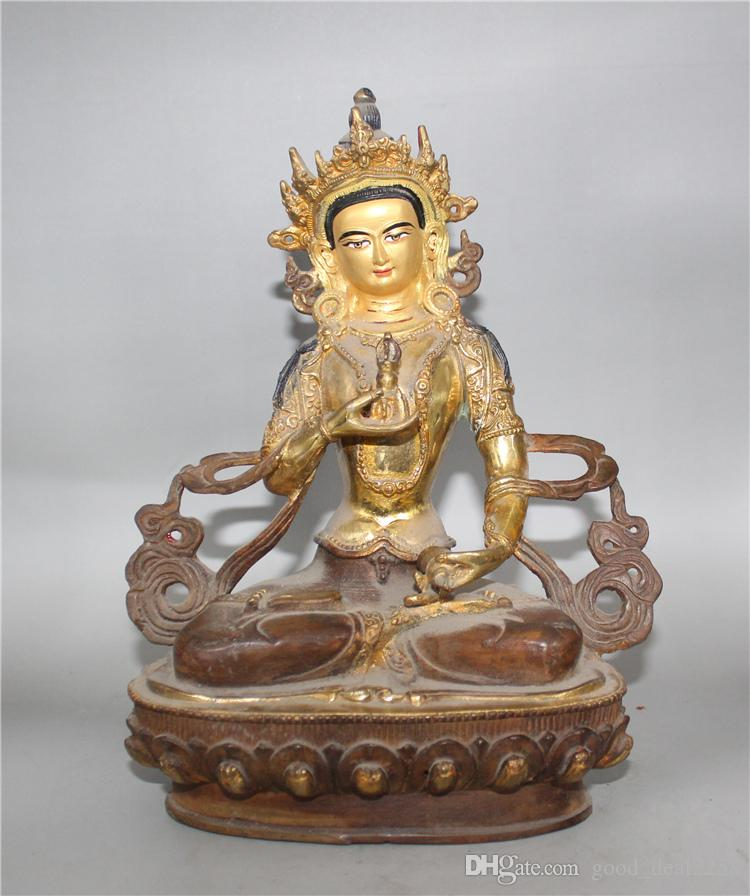 Collection Chinese old bronze hand-carved Wenshu Bossa statue