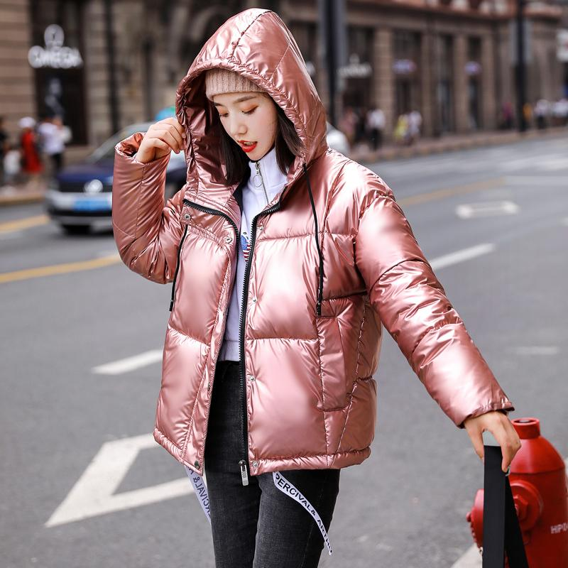 2019 novos inverno moda casaco com capuz mulheres brilhante para baixo algodão Brasão Casual Grosso Blusão Feminino Streetwear parkas outwear M203