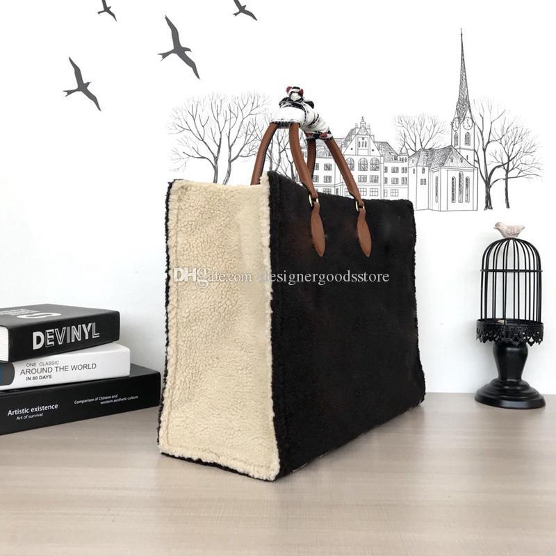 Soft Top Bard Onthego Teddy Sumbage M55420 2020 дизайнерские кашемировые дуплексные сумки для качественного печать женского дизайнера Tote два цвета пульвы