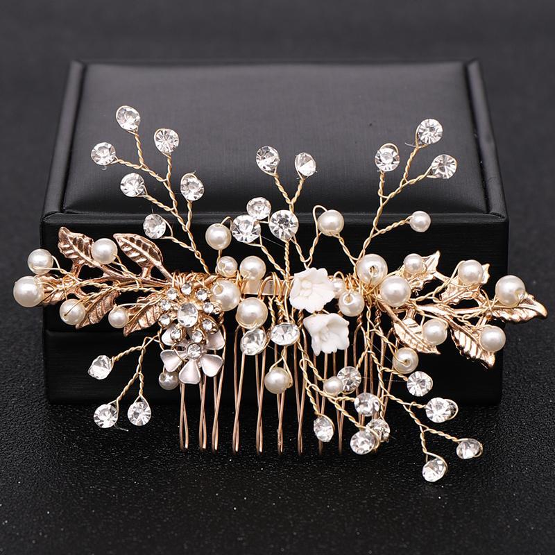Trendy Gold Flower Rhinestone Pearl Hair Combs For Wedding Bridal Headpiece Hair Jewelry Accessories Handmade Women Decoration