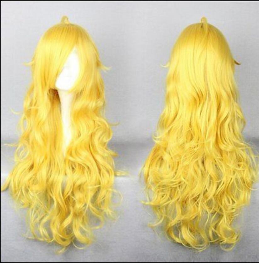 WIG envío gratis Nuevo caliente 80 cm largo RWBY Yang Xiao largo amarillo cosplay peluca