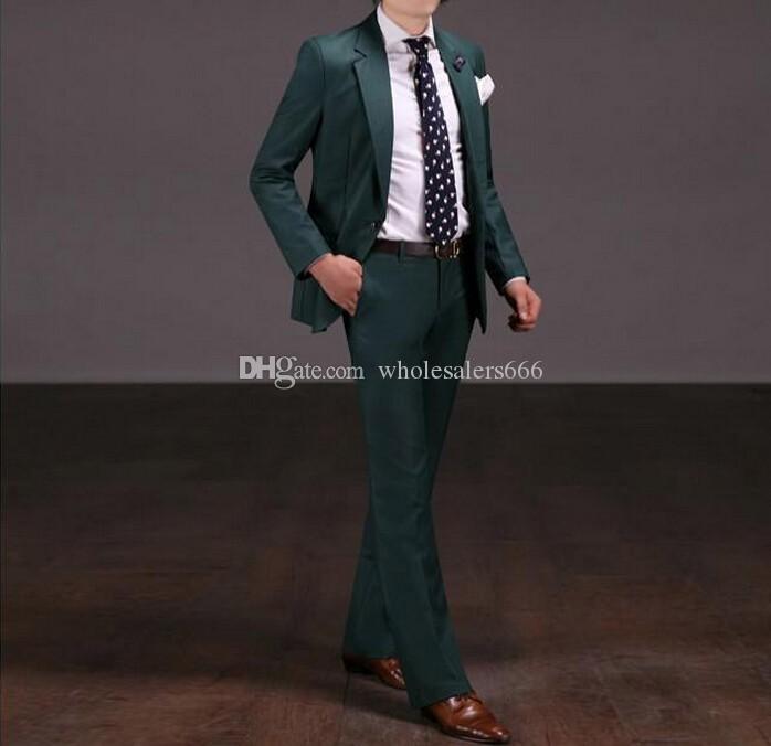 Heißer Verkauf Groomsmen Notch Revers Bräutigam Smoking Grün Männer Anzüge Hochzeit / Prom / Dinner Trauzeuge Blazer (Jacke + Pants + Tie) W238