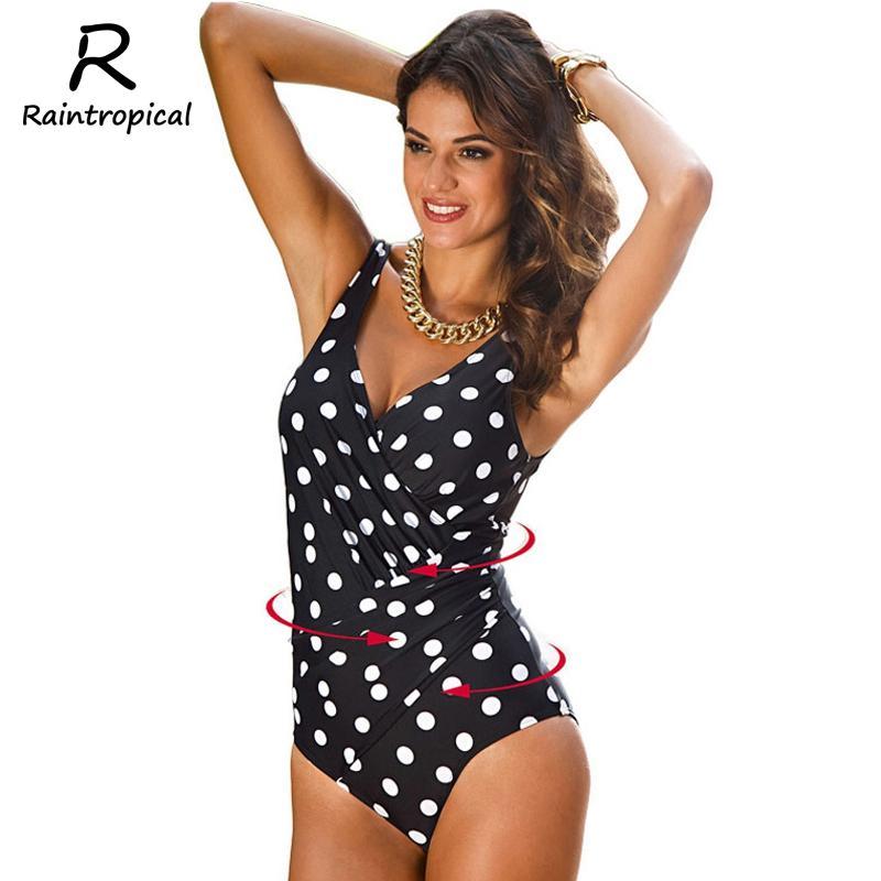 Raintropical One Piece Swimsuit 2019 New Sexy Plus Size Swimwear Women Vintage Bathing Suits Summer Beach Wear Zipper Padded