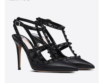 Hot Sale-2019 donne sandali degli alti talloni rivetti scarpe Sandali donna Studded Strappy del V scarpe tacco alto + box