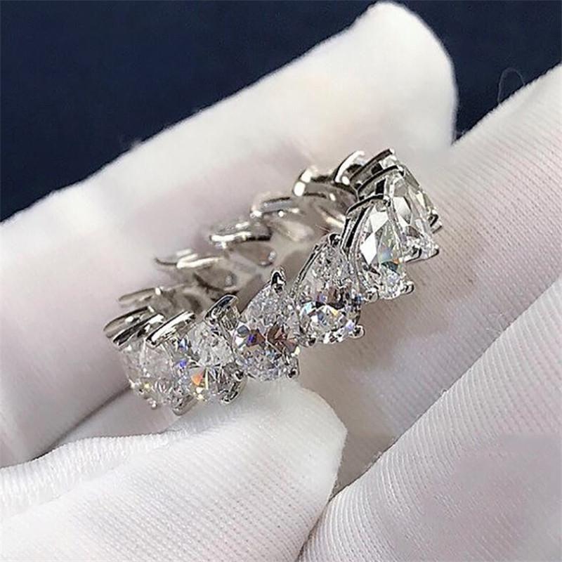 2020 Yeni Geliş Kadın Moda Takı 925 Gümüş Su Damlası Armut Kesim Beyaz Topaz CZ Diamond Kadınlar Düğün Gelin Yüzük Hediye