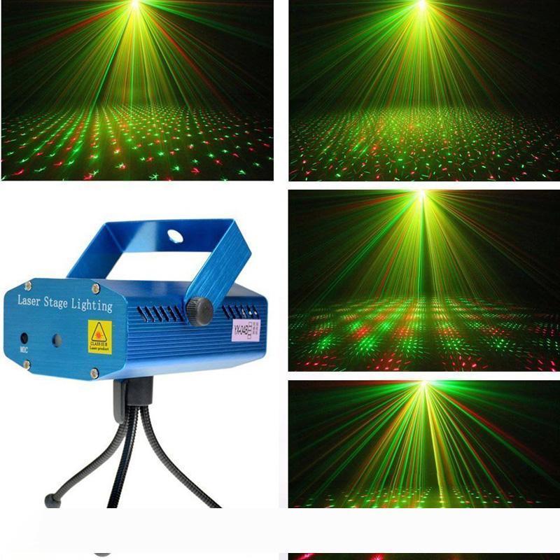 1PC portatile Mini Laser Stage Lights (+ Colore Rosso Verde) Illuminazione All stella del cielo per la festa di Natale a casa di nozze Club Disco Dance proiettore