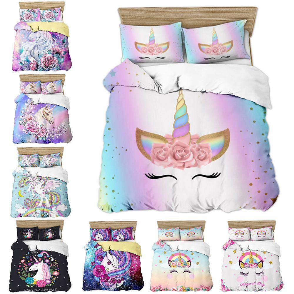3D Kids Bedding Set Cartoon Unicorn Printed Single Twin Full Queen King Girls Guilt Cover Duvet Cover Pillow Cases Sheet Set L0215