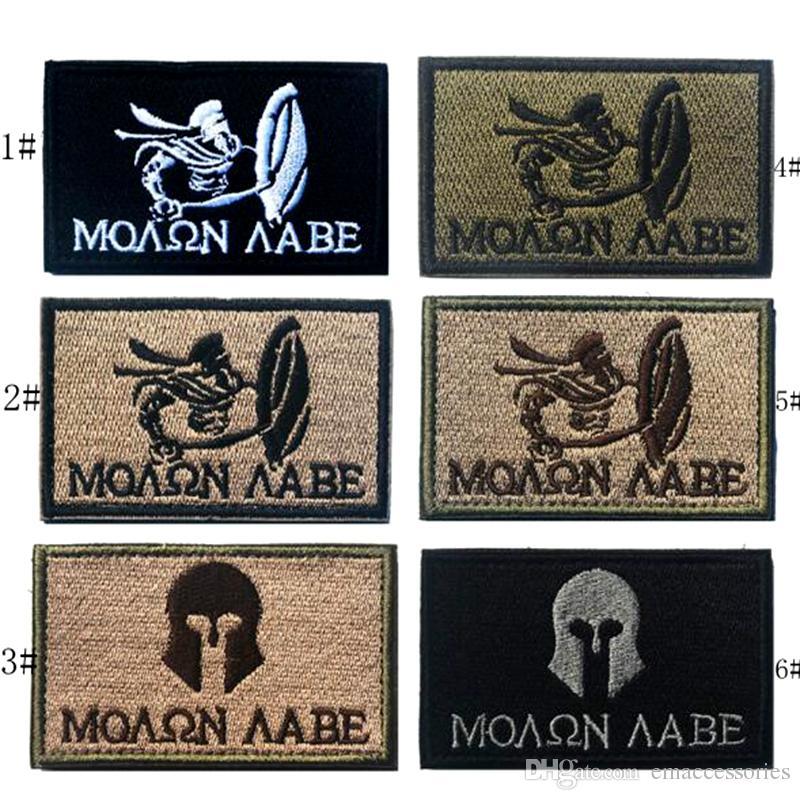 VP-201 3,15 * 2 pollici COYOTE Molon Labe 3D Patch tattiche di ricamo con bastone magico Patch per bracciali Giacca patch per esercito all'aperto