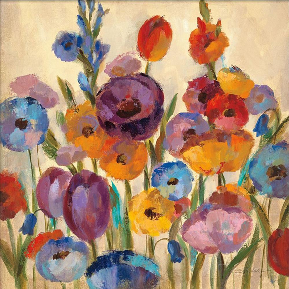 Dipinti di fiori di Silvia Vassileva Garden Hues I dipinto a mano su tela di alta qualità