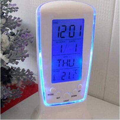 LED LCD ساعة المنبه الرقمية التقويم ميزان الحرارة مع مكتب الخلفية الزرقاء على مدار الساعة متعددة الوظائف الرقمية على مدار الساعة مع الوقت