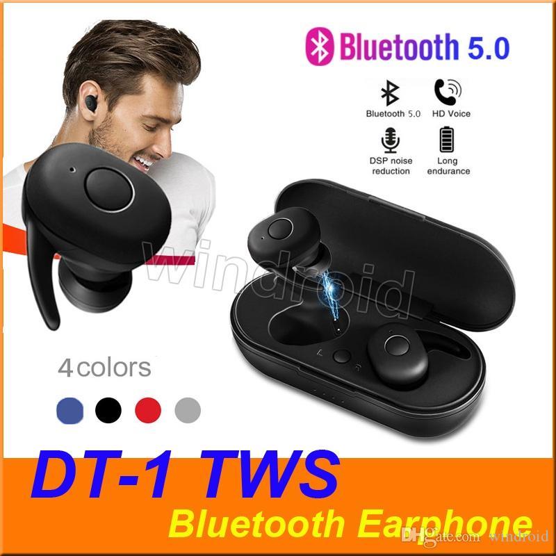 DT-1 TWS Mini Bluetooth-Kopfhörer V5.0 Echte drahtlose Earbuds Stereo Wasserdichte Sport-Kopfhörer-Headset mit Mikrofon Ladebox 4 Farben