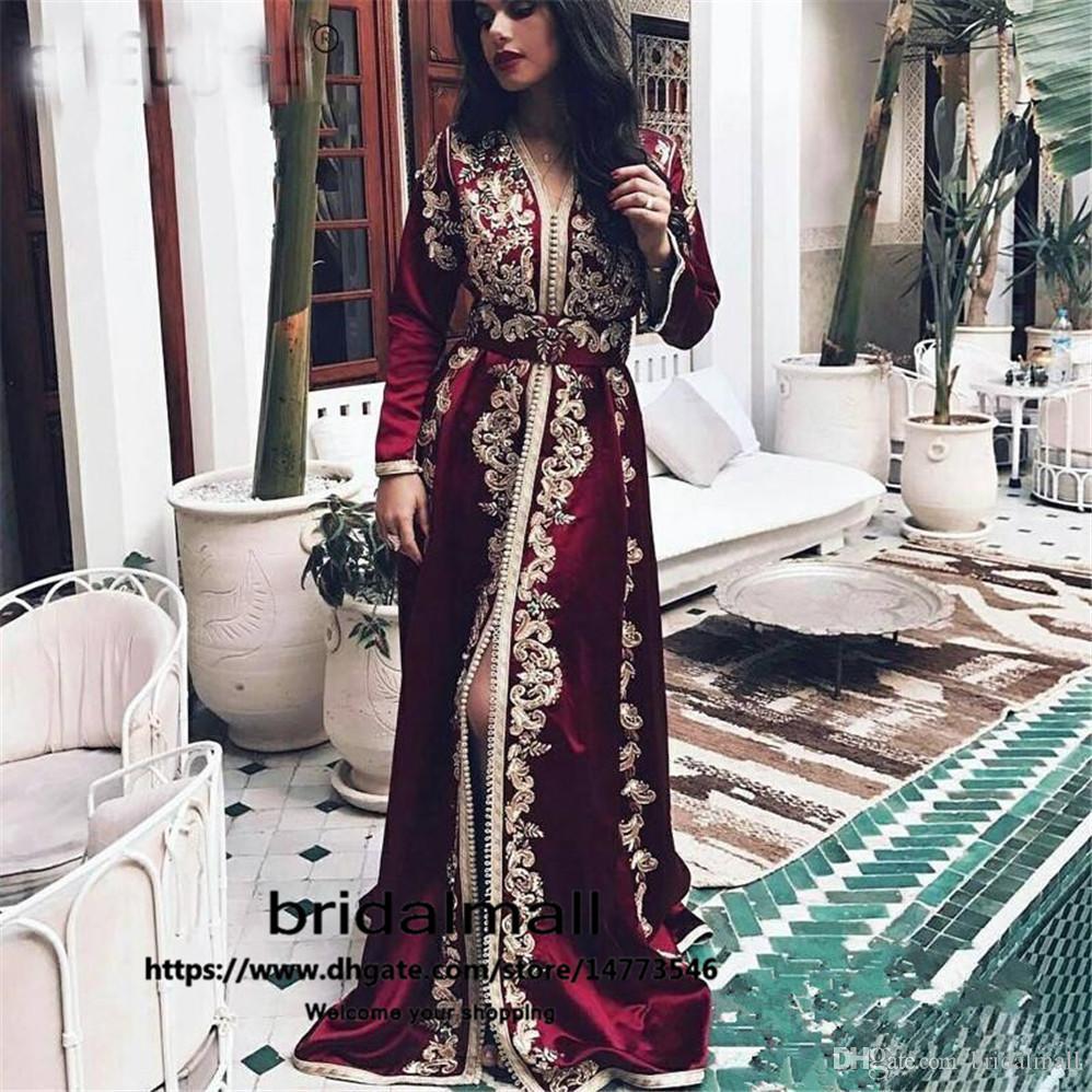 Bourgogne Caftan Marocain robes de soirée Manches Longues Dentelle Appliques Formelle Parti Pageant Robes musulman arabe Robe De Bal robes de soirée