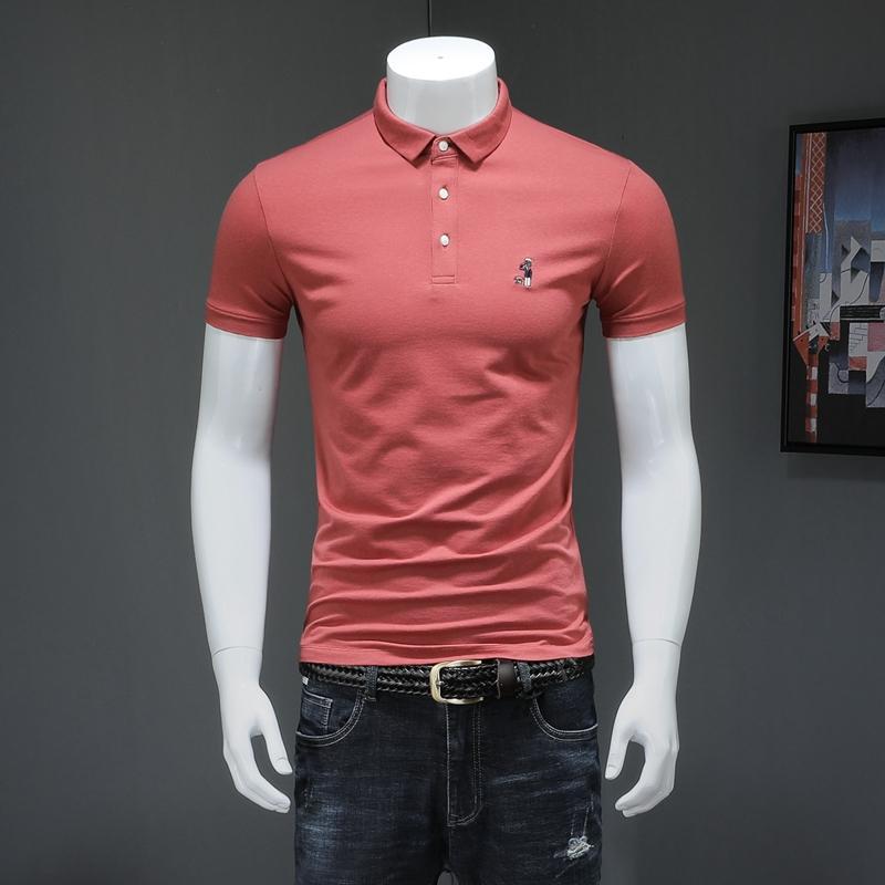 Shirt rouge soldat et chien Broderie Hommes Chemises Fashions coton à manches courtes Vêtements