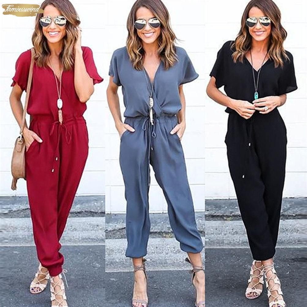 New Jumpsuit Femmes Mode en mousseline de soie à manches courtes Jumpsuit Clubwear Salopette Party Bodycon Romper June29 Drop Shipping