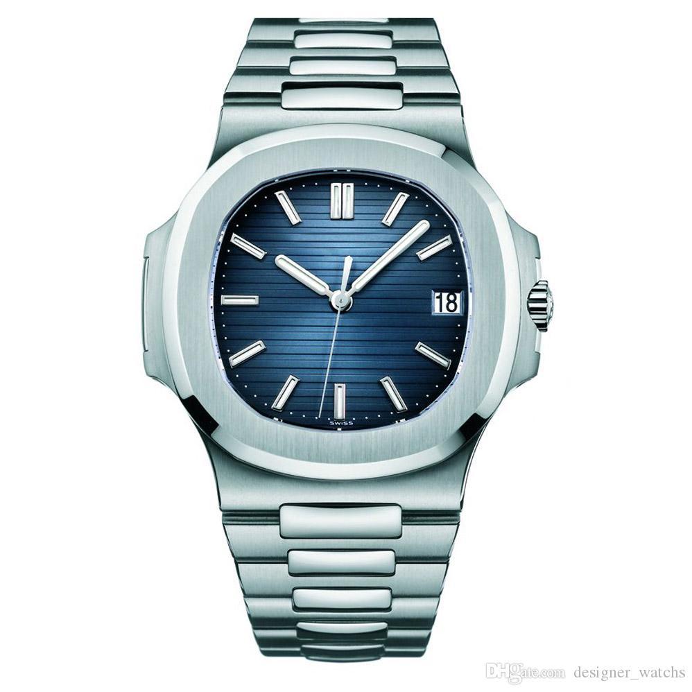 2020 su geçirmez izle erkek otomatik saatler 5711 gümüş kayış mavi paslanmaz erkek mekanik montre de luxe kol saati reloj hombre U1