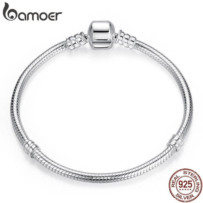 BAMOER TOP VENTA Auténtico 100% 925 de la cadena de la serpiente de plata esterlina pulsera brazalete de joyería de las mujeres de lujo 17-20cm PAS902 CX200612