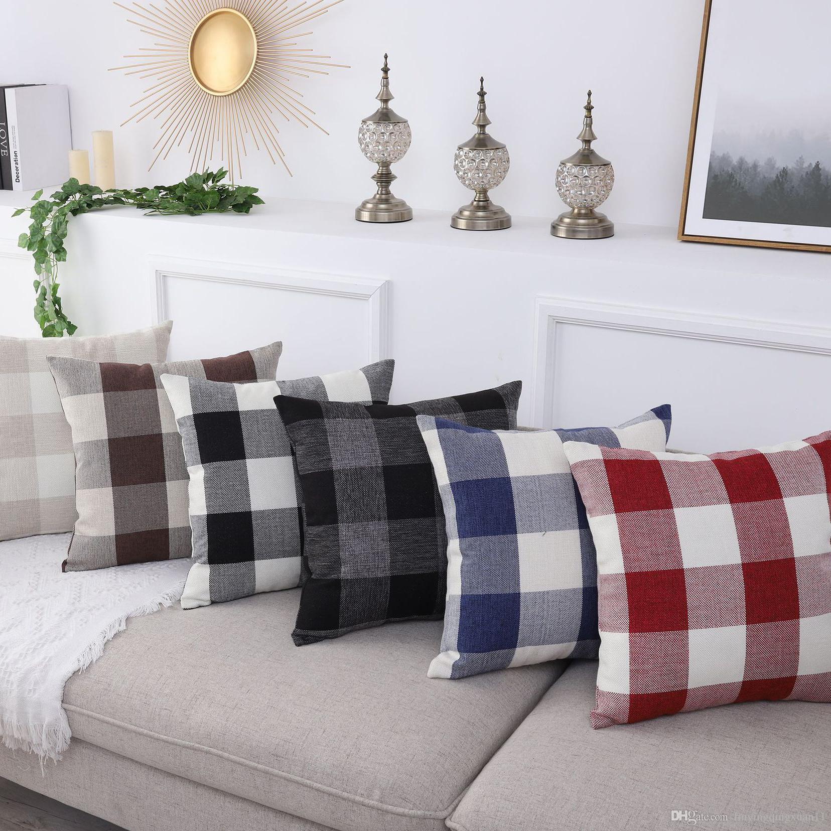 Funda de almohada de celosía Funda de cojín Decorativo Americano Simple Productos de Decoración del Hogar Sofá Silla de Coche Funda de Almohada 45 * 45 cm