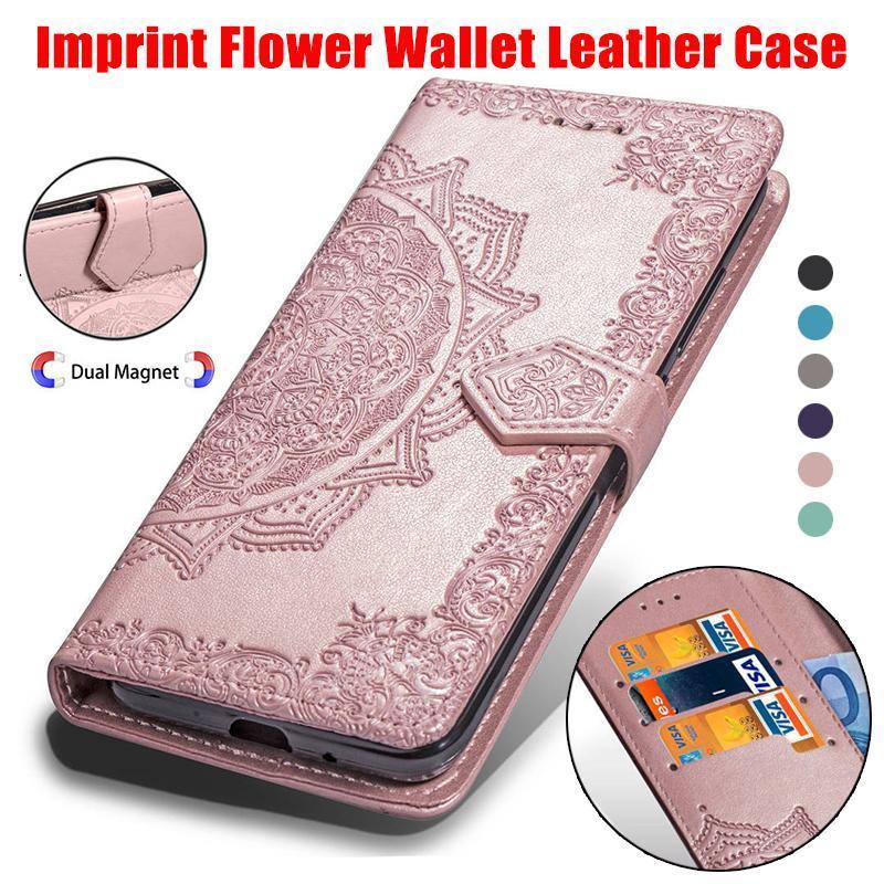 Casos carteira de couro Imprint flor para Iphone XR XS MAX 8 7 6 6S Galaxy Note 9 S10 S10Plus S10lite ID slot Lace PU Pouch