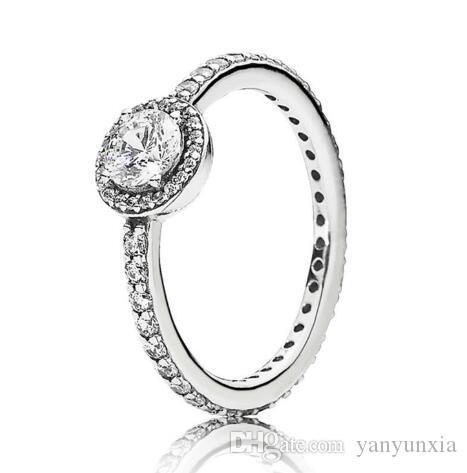 الأصلي 925 خاتم فضة مهد الكلاسيكية أناقة مع خواتم كريستال للمجوهرات باندورا المرأة حفل زفاف هدية الموضة