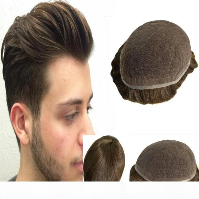 4 # Sostituzione Toupee Mens di colore Toupee piena del merletto dei capelli umani per le parti dei capelli degli uomini non trattati Virgin mongola servite umani Trasporto libero!