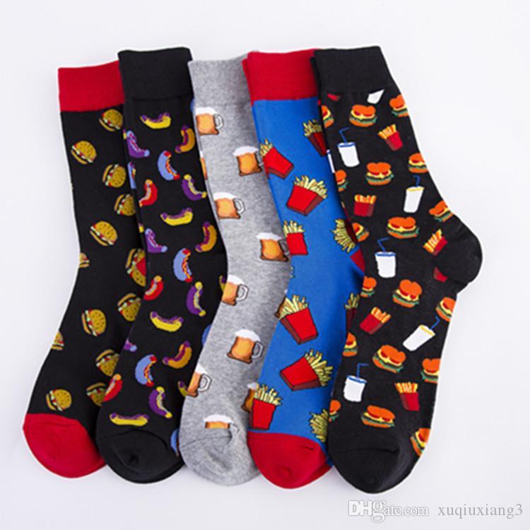 Mode Hommes Chaussettes coton coloré chaussettes Jacquard Art Hit Dot Couleur longues Happy Socks Robe hommes Sock 10pairs / lot