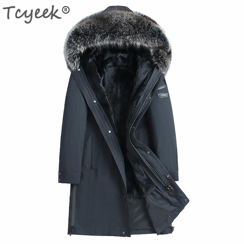 Tcyeek Echt Shearing Liner Jacket Men Winter Natur Waschbär-Pelz-mit Kapuze Pelz-Mantel-Kleidung 2019 Street Jacken 195901