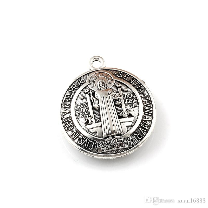 3D Benedict Cross charm beads Antique Silver Alloy Charm Pendants 34X39mm Fashion DIY Jewelry 30pcs /lots A-553