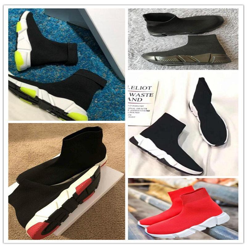 2019 Top Quality Knit Socks chaussures hommes femmes baskets vitesse High Race Runners Noir blanc Slip-on triple s Casual Chau n7