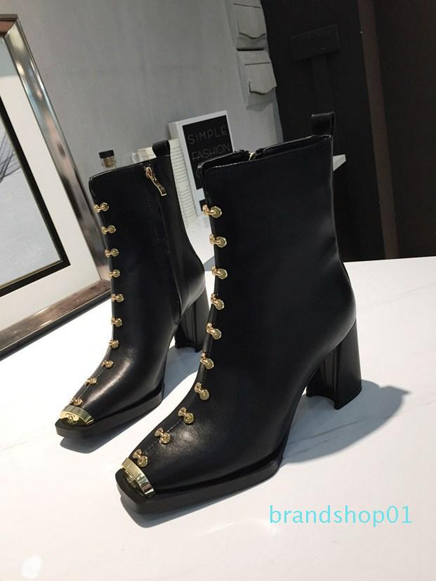 Hot Sale-Black Leather with Spikes Pointed Toes Womens Ankle Boots Fashion Sexy Ladies High Heels Shoes free shipping Pumps kid_fashion