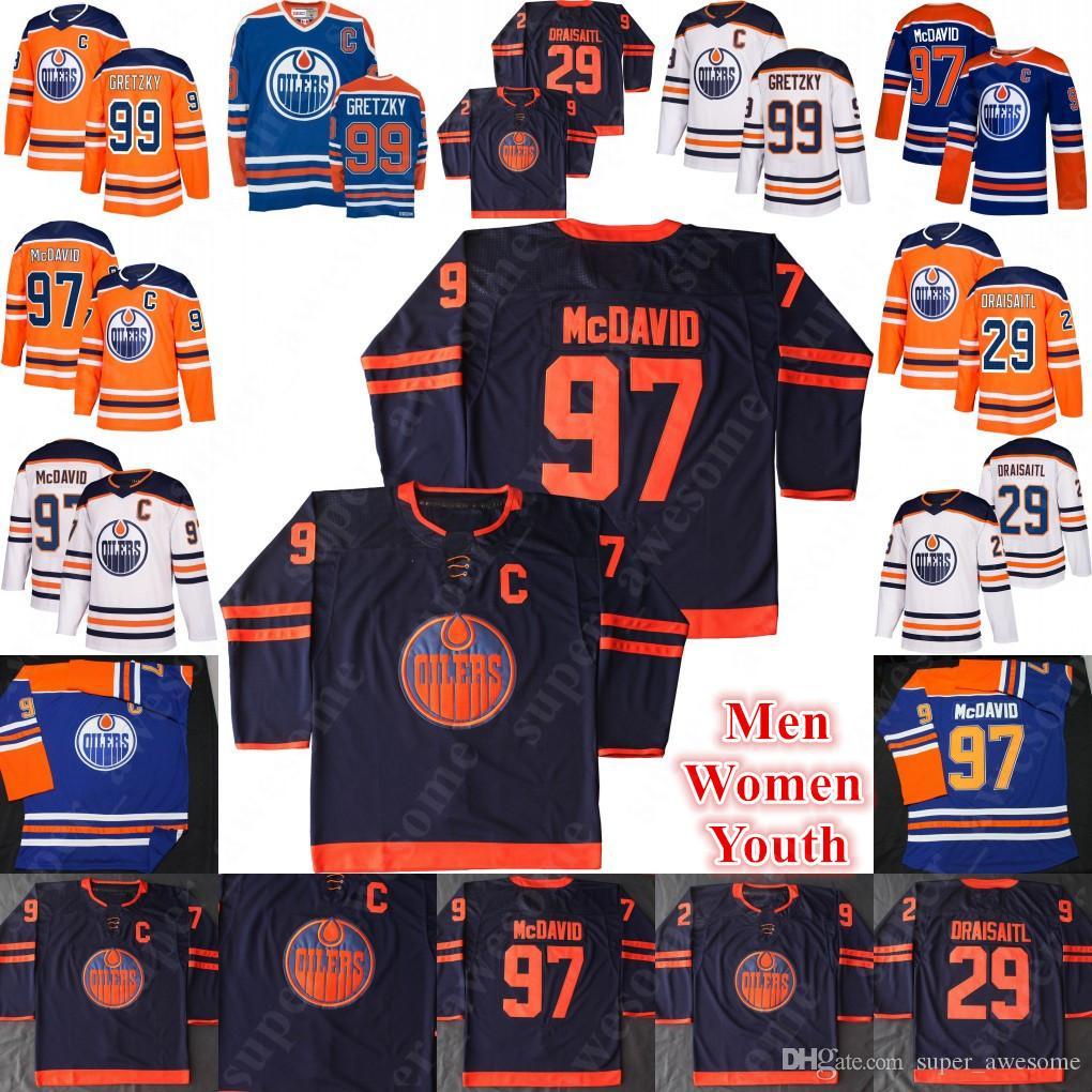 2020 Edmonton Oilers 97 Connor McDavid Jersey 29 Leon Draisaitl 99 Wayne Gretzky Hóquei Jerseys Homens Mulheres Juventude Laranja Branco Novo Terceiro Marinha