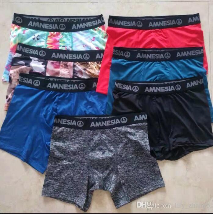 Random colors AMNESIA Men's boxer underwear sports hip hop rock excise underwear skateboard street fashion Polyester long and short style