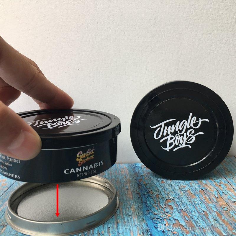 Jungle garçons Tin Cans Aucune machine Besoin Sealed 3,5 gramme herbe sec réservoir pot Jungle Garçons fleur récipient avec 3 autocollants