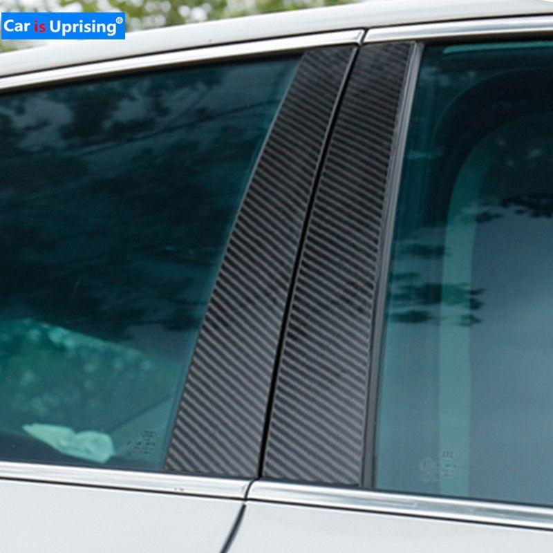 Fenêtre De Voiture En Fiber De Carbone B-piliers Autocollants De Voiture Garniture Couvre Car Styling Pour Audi A3 A4 A6 Q5 2009-2018 Série Accessoires