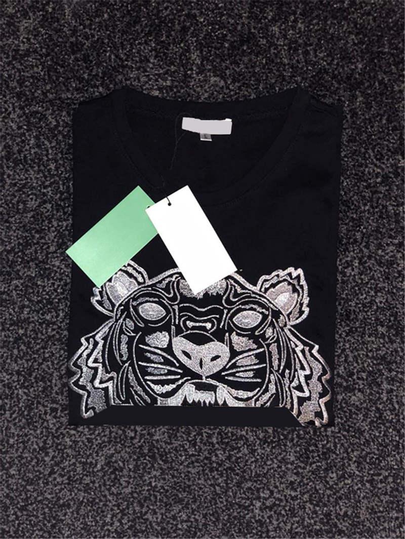 Mend maglietta estate calda di stile della tigre del ricamo con lettere T manica corta Camicie Casual Top asiatico formato S-XXL