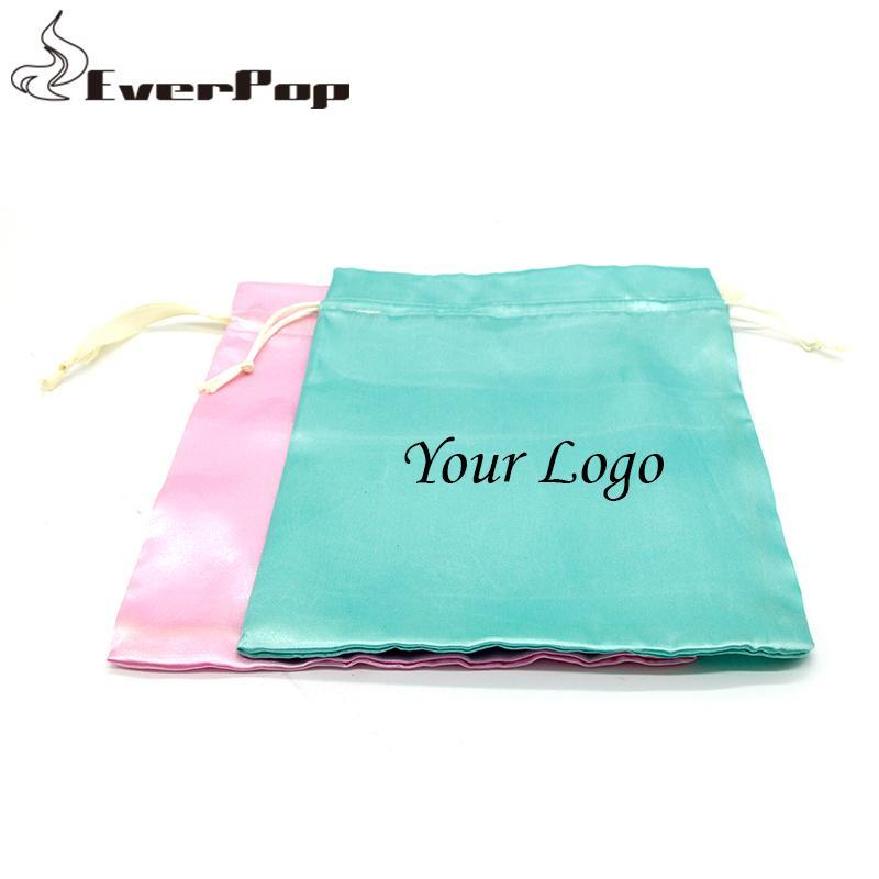 술 선물 헤어 번들 크기 18x30cm의 경우 포장 빈 실크 가방을 포장하지 않고 4 색 버진 헤어 새틴 가방 사용자 정의 로고