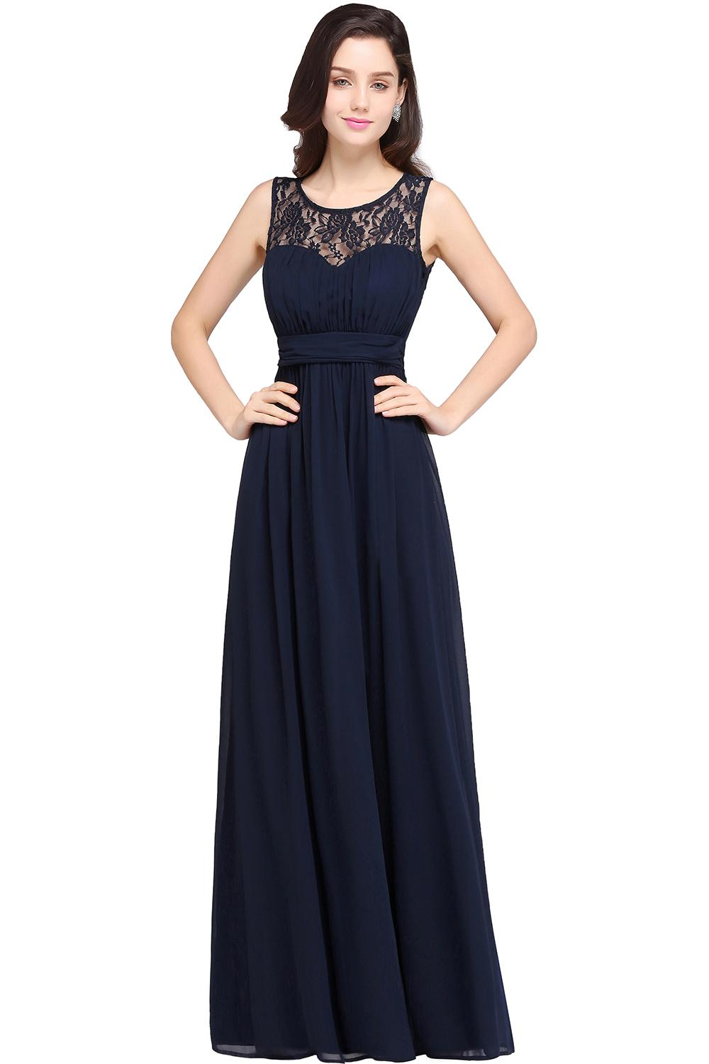 Babyonlinedress In Stock Real Image Lace Evening Dresses Cheap Multi Colors Illusion Bust Sashes Chiffon Prom Dresses LongCPS614