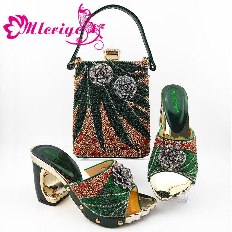 Dernières 2020 Chaussures africaines et Bag Set de Super High Heels Party In Femmes Mode italienne Matching chaussures et Set Sac en couleur vert