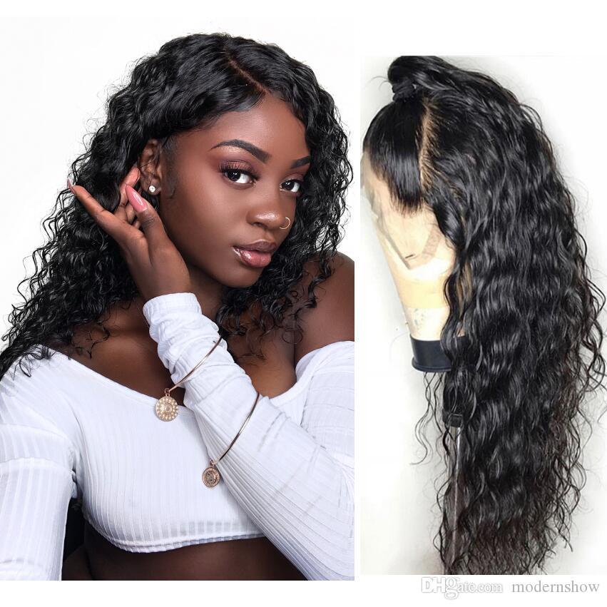 Virgin Pre Plucked Water Wet och Wavy Wave 13 med 4 Lace Frontal Human Hair Wigs Brazilian 150 Densitet Obehandlad Human Lace Wig