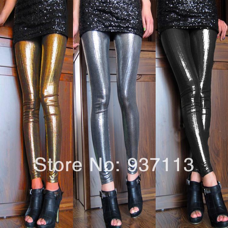 Sıcak Satış Yeni Geliş Kadınlar Seksi Parlak Metalik Tozluklar Pantolon Sahte Deri Sıkı Tayt Punk Şık Gece Kulübü Pantolon