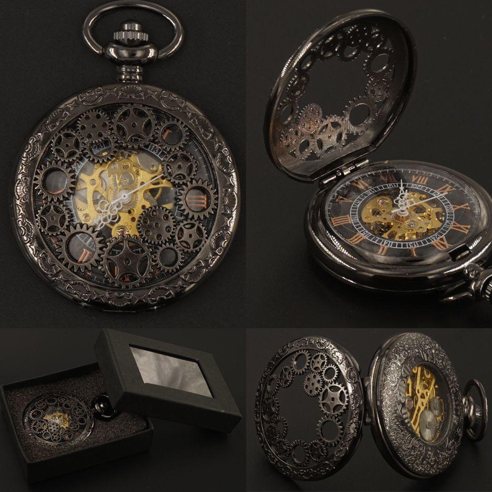 Мужская черная шестерня полые механические карманные часы брелок цепи подарочная коробка ручной ветер стимпанк 2017 Бесплатная доставка