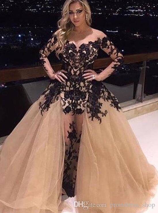 2020 샴페인 오프 숄더 댄스 파티 드레스 화려한 분리 기차 블랙 레이스 새해 긴 소매 파티 드레스 섹시한 인어 저녁 가운