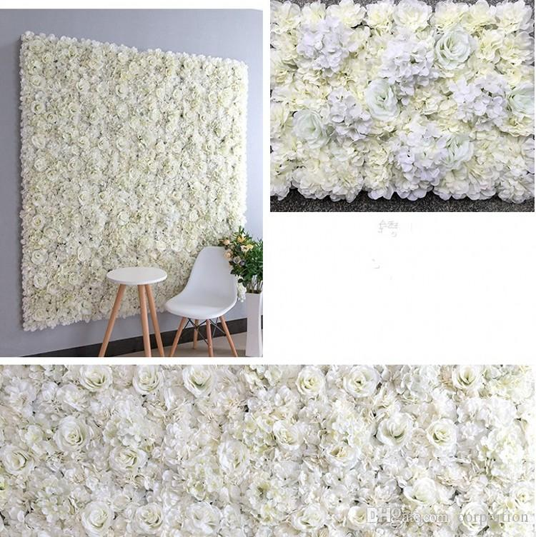 New 10PCS Elegant Milk White Rose Hydrangea Flower Wall Wedding Backdrop Decoration Centerpieces Supplies 40X60cm each piece