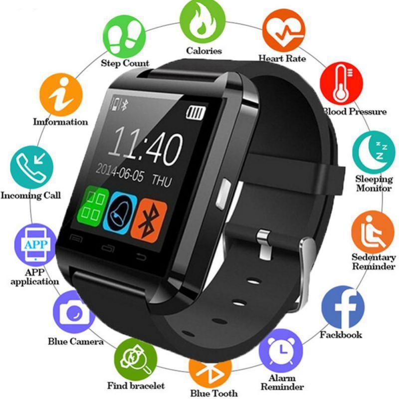 Yeni Şık U8 Bluetooth Akıllı İzle iPhone iOS Android için Saatler Giymek Saat Giyilebilir Cihaz Smartwatch PK Giymek Kolay