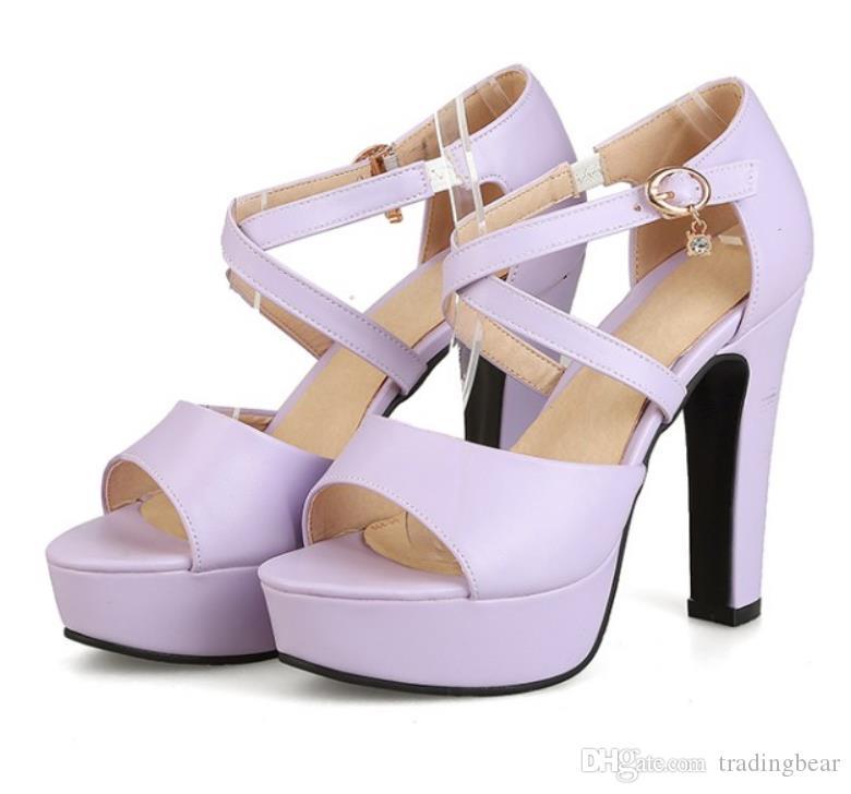 size 34 to 43 sexy lavender cross strap platform block heels sandals bridesmaid wedding shoes tradingbear