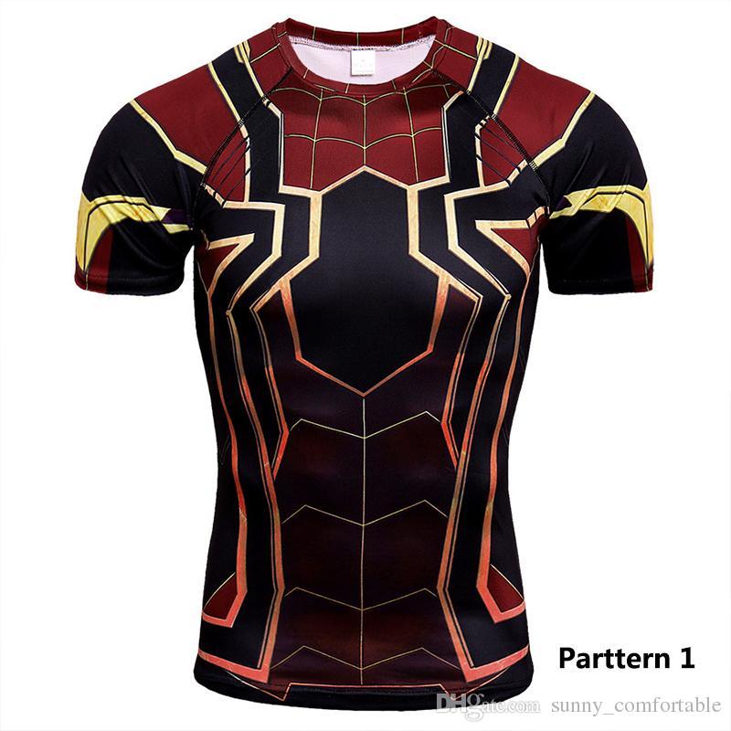Marvel Series 3D Digital Printed Superman Short-sleeved T-shirt Sport Tights Men's Quick Dry Fitness(Parttern1-20)