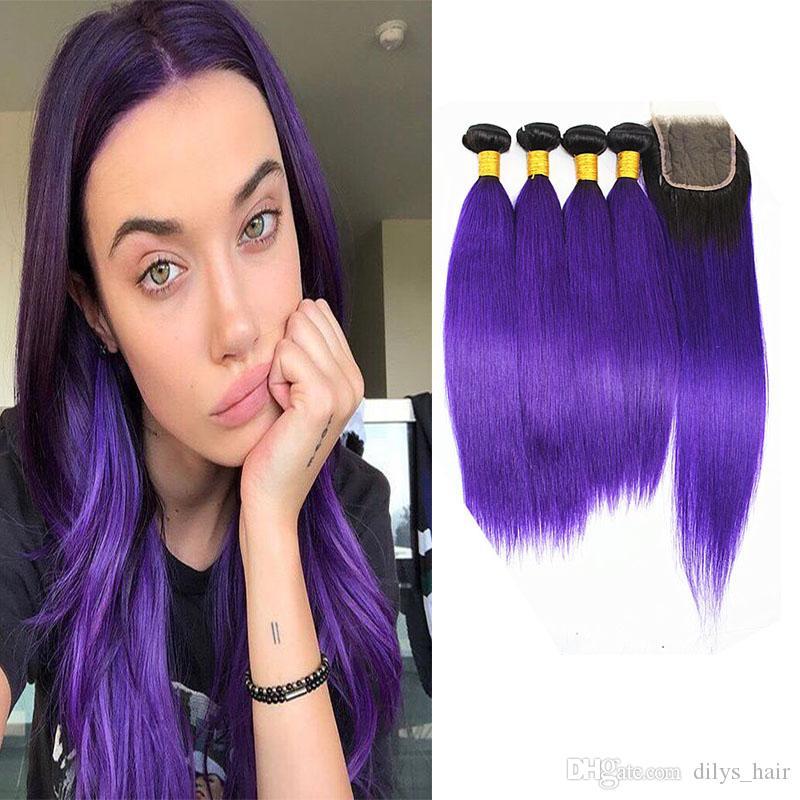 Dilys 1B / paquetes de pelo recta púrpura humano con el pelo de color Cierre peruana Virgen del pelo humano de lotes 10-18 pulgadas